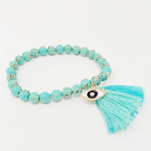 Turquoise Evil Eye Protection Stretch Bracelet- Protection From Bad Vibes