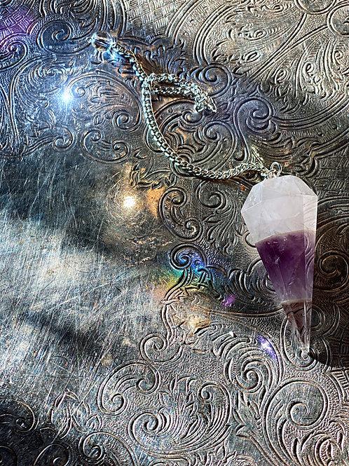 Triple-layer Angelic Pendulum Amethyst, Rose Quartz, & Clear Quartz