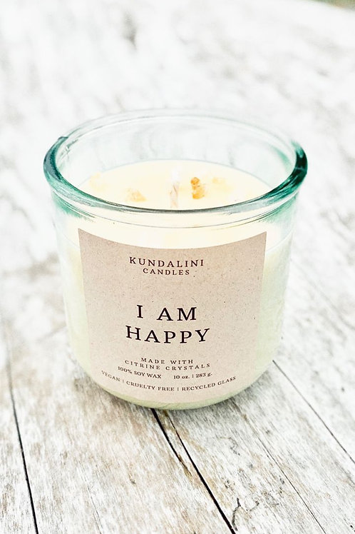 I AM HAPPY- Citrine Crystal Soy Candle- Positivity, Joy & Happiness.