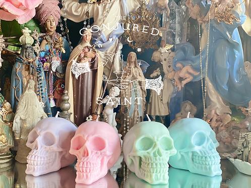 Pastel Green Skull Candle- Focused Money Draw Energy, Raises, Checks, Clients