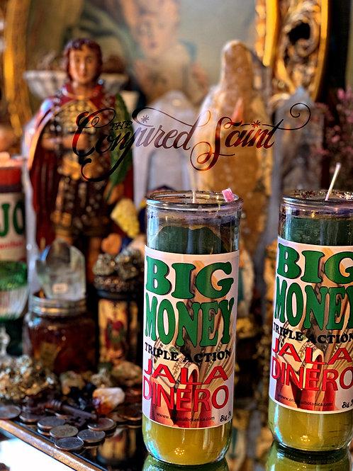 Big Money Candle Filled W/ Good JuJu & A Good Fortune Scroll