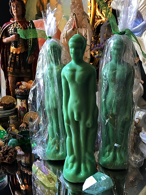 Male-Green Figure Candle, Hoodoo, Voodoo, Wiccan, Pagan, Santeria, Brujeria, Folk Magic, Pagan, Spiritualist, spell, conjure