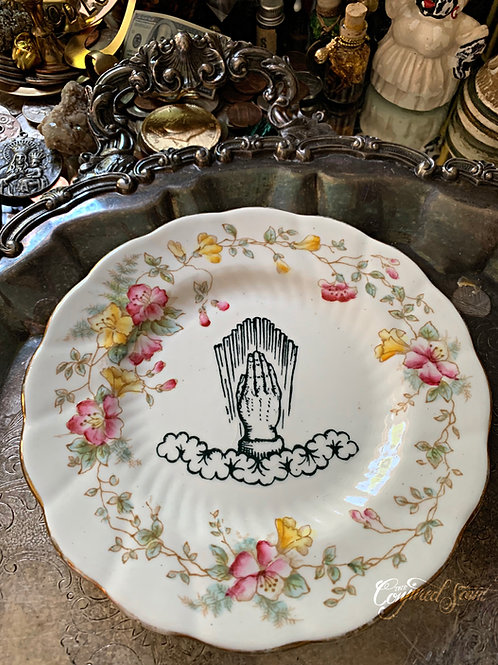 Vintage Religious Praying Hands Altar Offering Plate