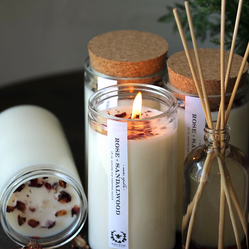 ROSE SANDALWOOD : CANDLE- The Apothecary Collection