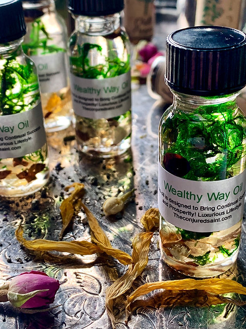Wealthy Way Oil- Hoodoo, Voodoo, Wiccan, Pagan, Santeria, Brujeria