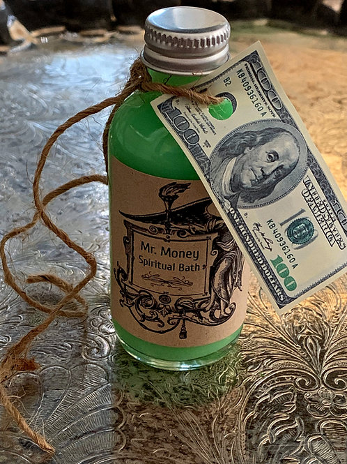 Mr Money Bath - Baño Don Dinero- Constant Stream of Luck, Wealth & Money, Hoodoo , Spell Candles , Mr. Money Candle