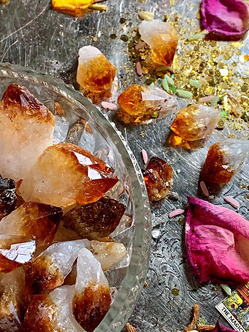 Citrine Gemstone Points ( Set of 2 ) Success Stone, Prevent Nightmares, Healing