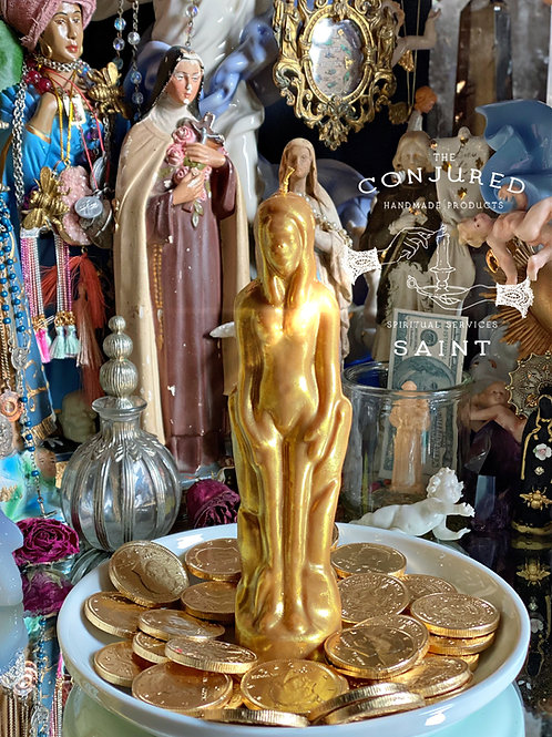 GOLD- Female- Ritual Image Candle- Attract Great Wealth and Fortune.