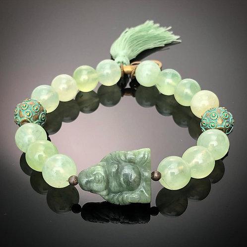 Prehnite and Carved Nephrite Jade Buddha Bracelet
