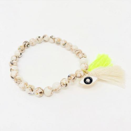 Evil Eye Charm Bracelet- Neon Yellow Tassels- Protection From Evil