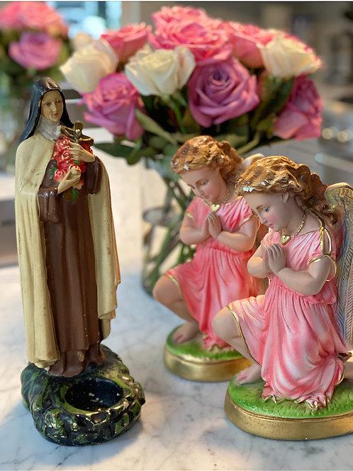 Antique Saint Therese of Lisieux ~The Little Flower~ Chalk Statue, Votive holder