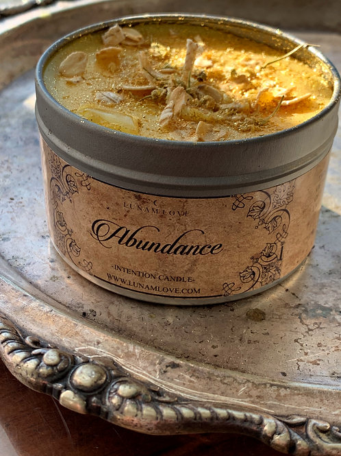 Abundance Tin Spell Candle- Fast Continuous Luck, Happiness, Love, Abundance