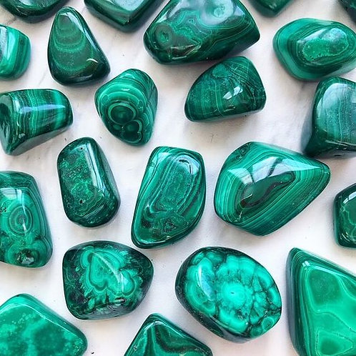 Malachite Tumbled Gem Stone- Clears Stagnant Energy, Removes Blockages, Money