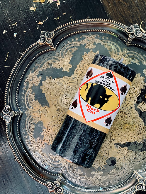 Black Cat Hoodoo Candle-  Brings Luck and Protection