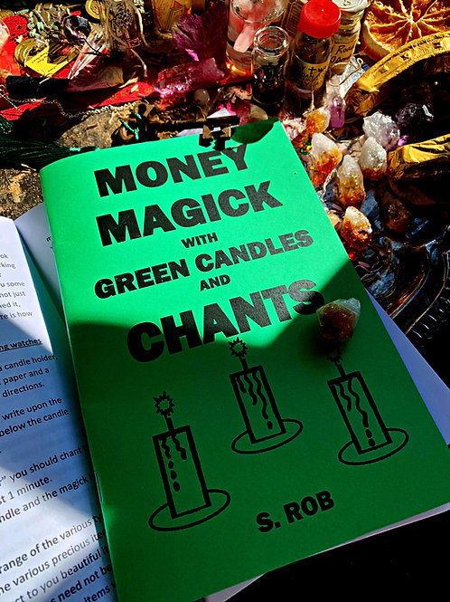 Money Magick With Green Candles & Chants Book & Altar Set Up