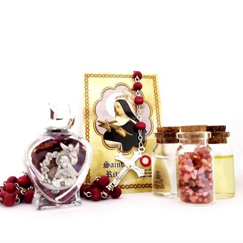 Saint Rita Altar Set- Oil, Water, Rose Incense, Roses and Relic Card