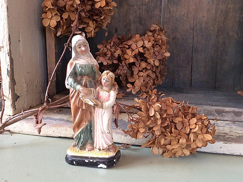 Vintage Virgin Mary and Saint Anne,  Blessed Catholic Convent Statuary