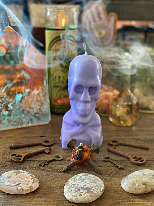 Purple Skull Candle 5 In. - Power, Success, Compel, Bend Over Work