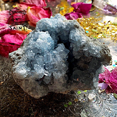Raw Celestine Druzy Large- known To Help Connect You With Your Guardian Angel