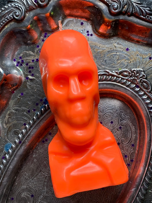Orange Skull Candle- Loaded W/ Spell Booting Ingredients- Success