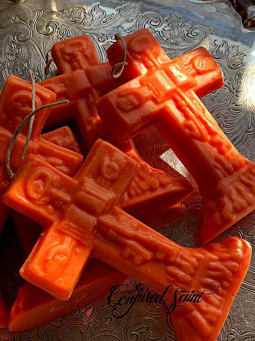 Orange Crucifix Candle- Success, Legal Matters, Open Roads, Joy, Achievements