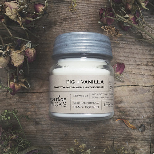 FIG + VANILLA - 8oz  Hand-Poured in Small Batches