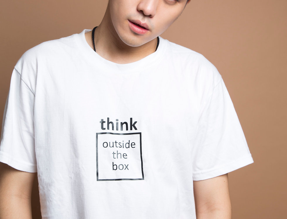 Think Outside the Box white tee
