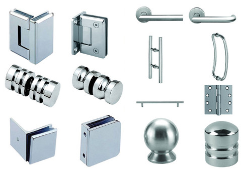 Shower hardware and handles, chrome and brushed nickel shower handles