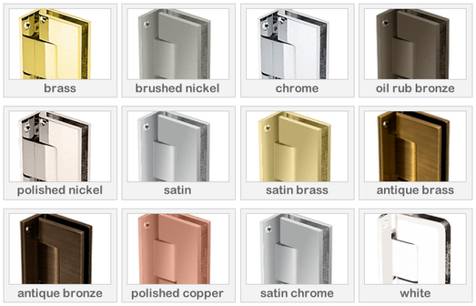 Custom shower hardware and finishes, from bronze and chrome to satin and brushed nickel