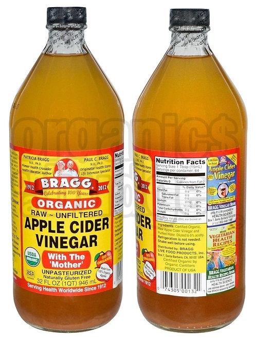 BRAGG Apple Cider Vinegar  Unpasteurised & Unfiltered 946ml