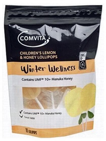 COMVITA Propolis Lollipop- Lmn & Honey  Contains Manuka UMF 10+ 10x10g