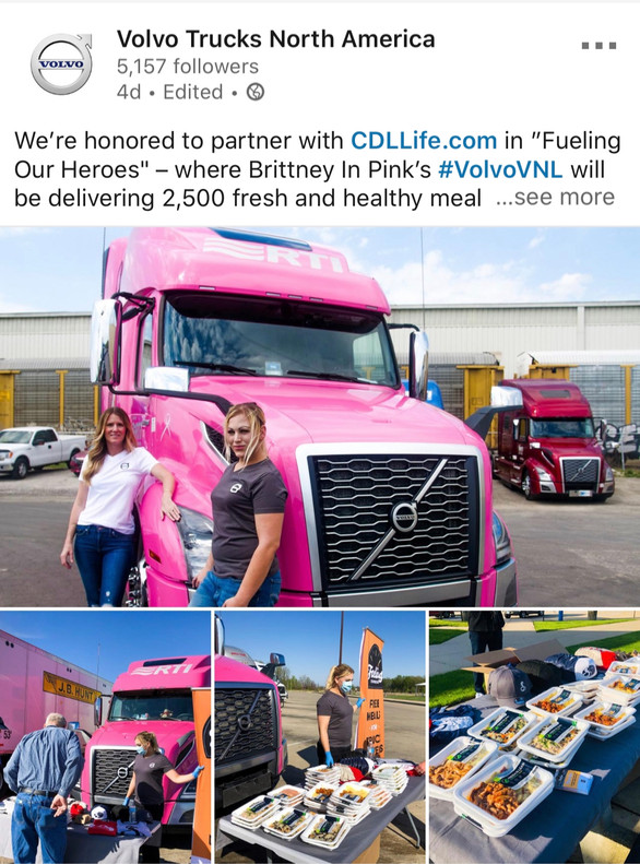 Brittney on the front page of Volvo Trucks USA