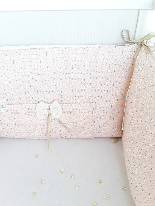 Tour de lit rose poudré et doré/ tour de lit bébé / tissus ecologique