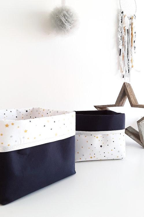 Paniers de rangements imprimé étoile jaune, gris et bleu marine