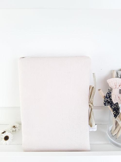 Protège carnet de santé lin rose