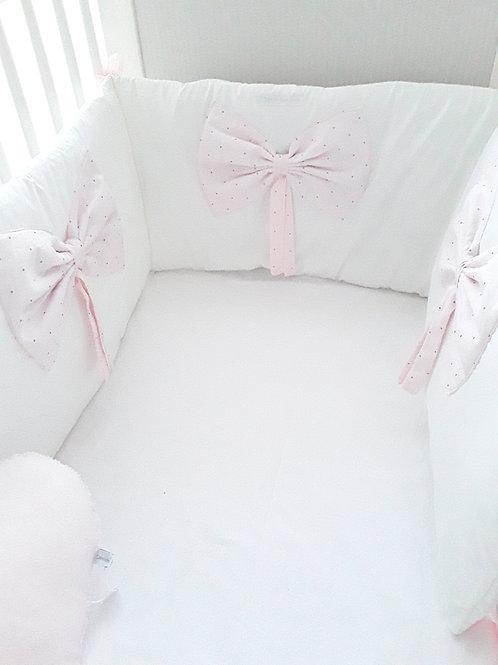 Tour de lit blanc  / tour de lit intégral/ tissu Oeko Tex