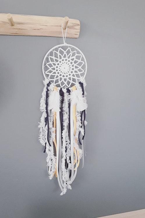 Attrape rêves gris, bleu et jaune , dream catcher