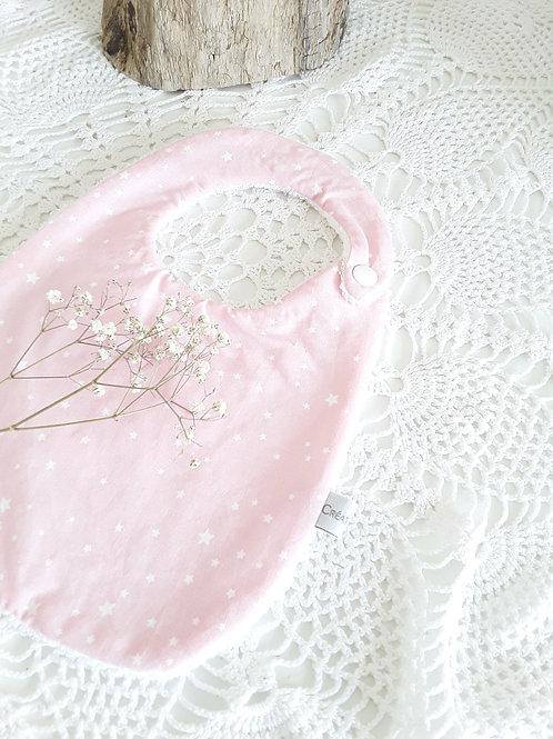 Bavoir naissance rose étoilé  0/6 mois