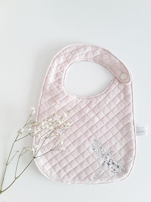 Bavoir  bébé 0/6 mois , rose poudré ,liberty gris