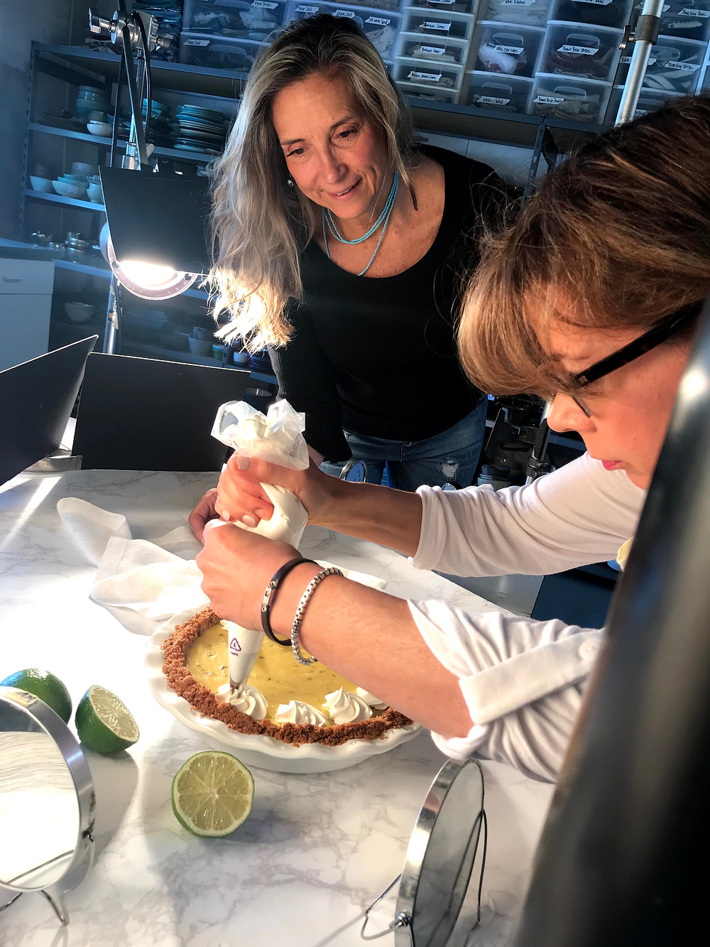 Here are some behind the scenes getting piping the perfect trim of whipped cream! Yummy!