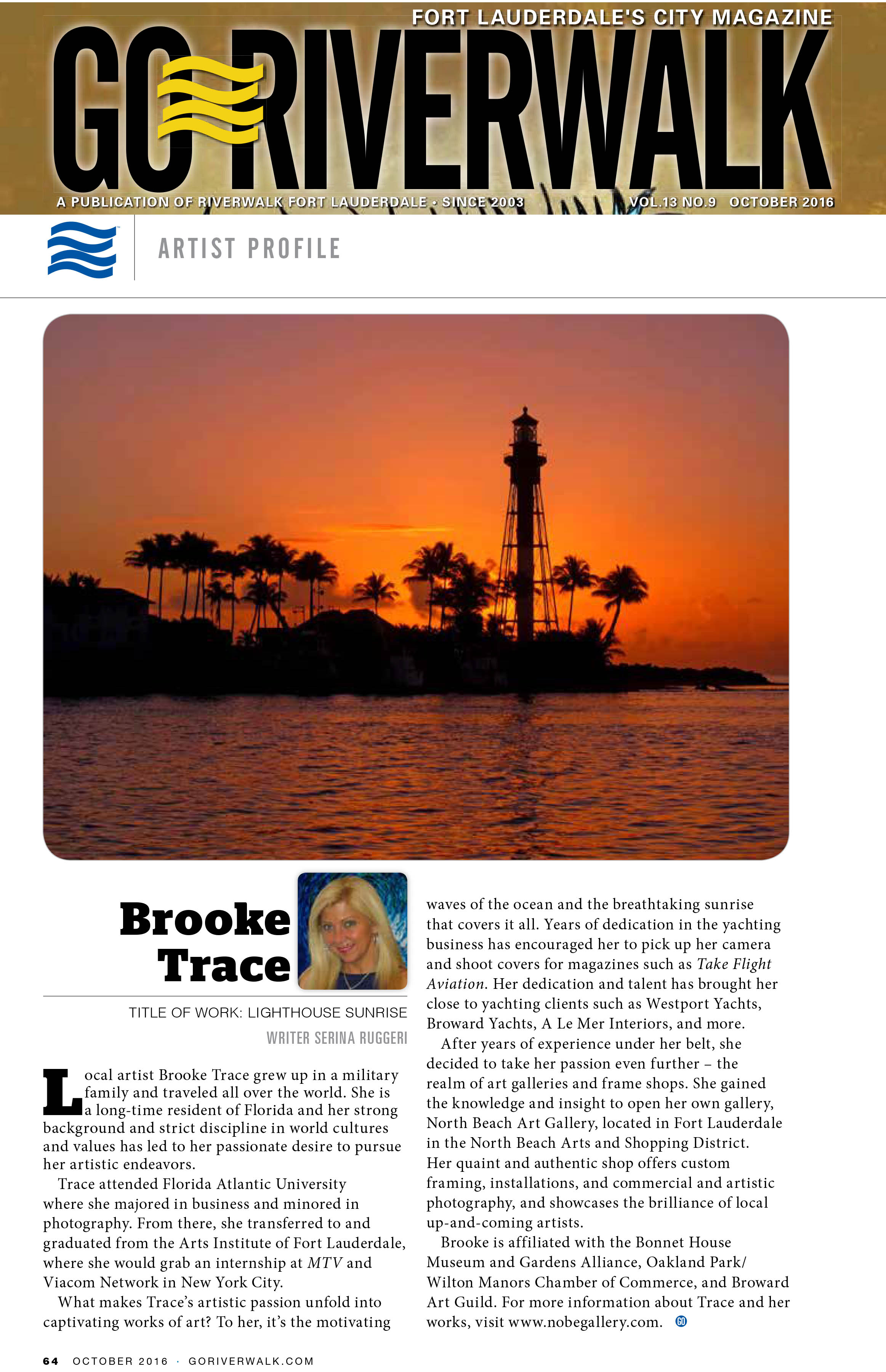Go Riverwalk Artist Feature Brooke Trace 2016