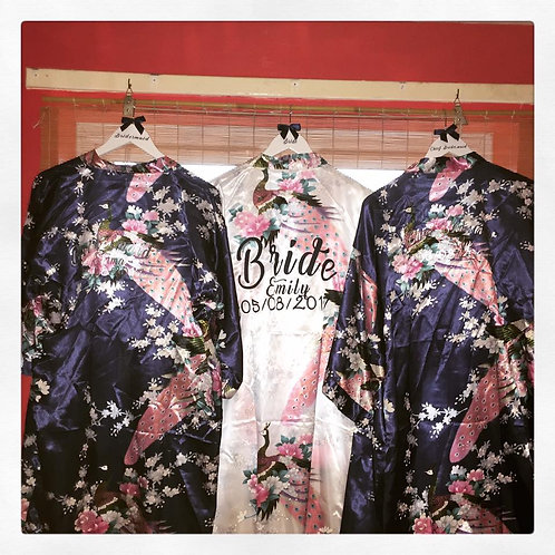 Personalised Robe/Dressing Gown we have a peacock pattern with vinyl