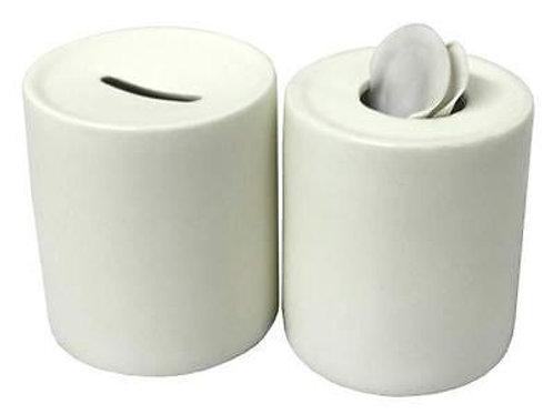 White Ceramic Money Box with Vinyl { Made 2 Order }