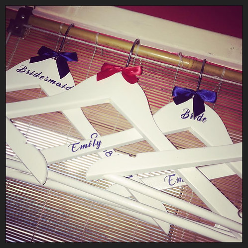 Personalised Adult Hangers ( Bow,Name,Date,Role )
