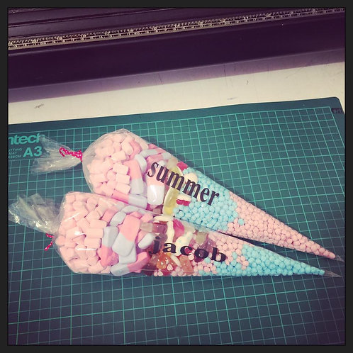 Sweet Cones with Personalised Names on them