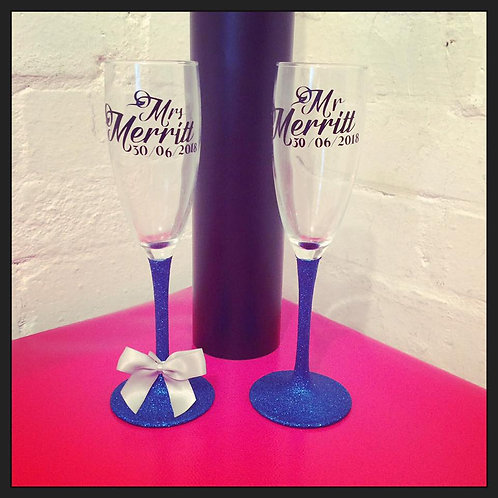 Mr&Mrs Champagne flutes with