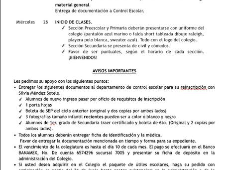 CALENDARIZACIÓN INICIO DE CICLO ESCOLAR 2019-2020