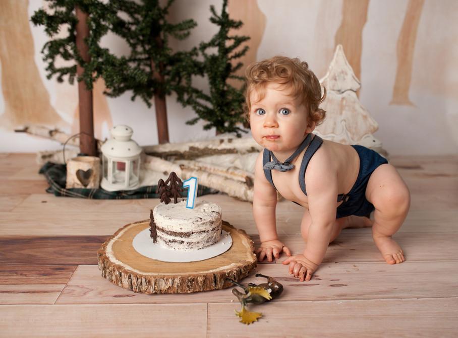 outdoor birthday baby boy rustic homemade wood pine tree