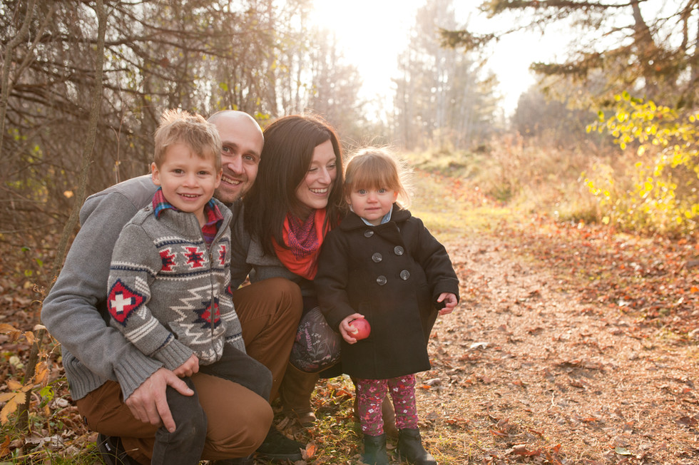 young children outdoor fall family