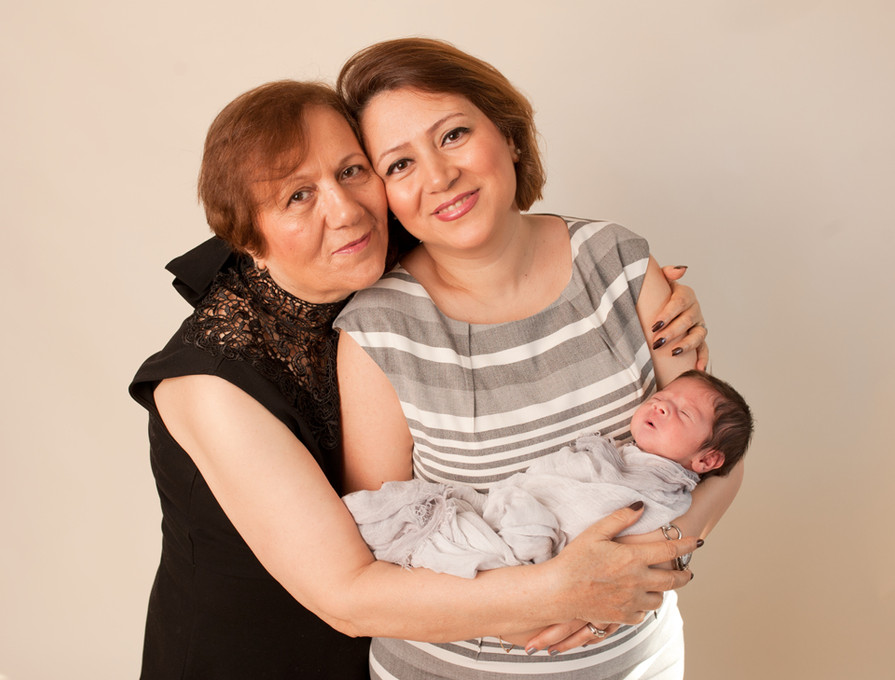3 generation newborn mother and daughter